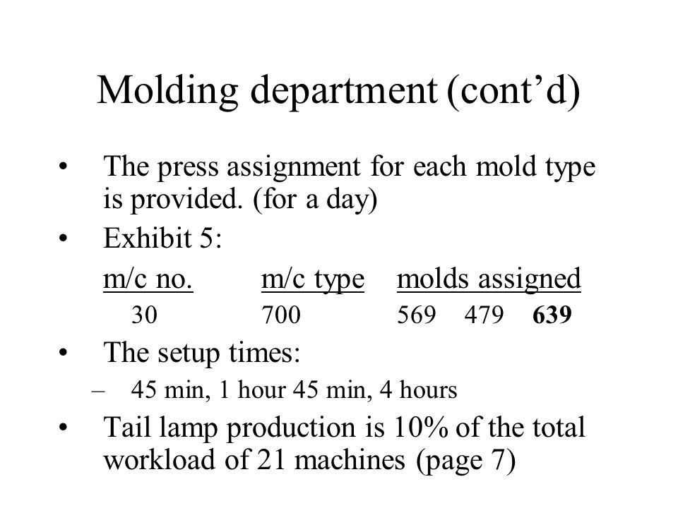 Molding department (contd) The production plan for each mold type is provided.