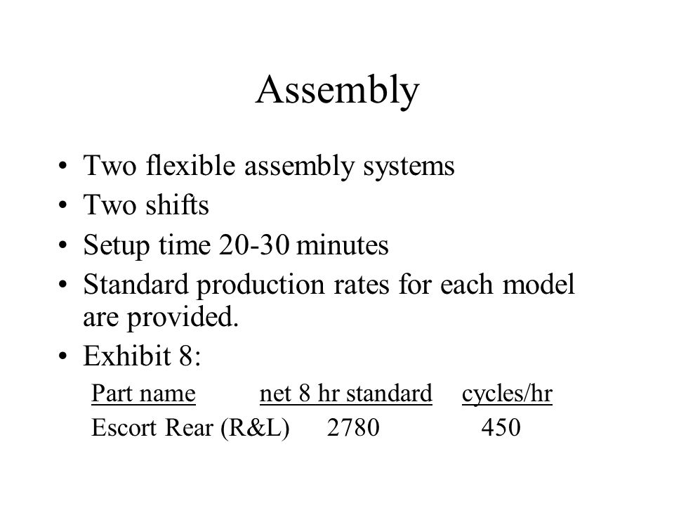 Assembly Two flexible assembly systems Two shifts Setup time 20-30 minutes Standard production rates for each model are provided.