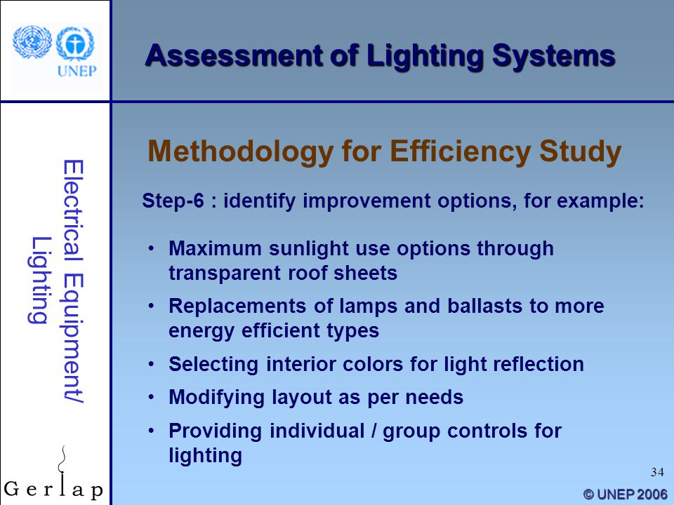 34 © UNEP 2006 Assessment of Lighting Systems Methodology for Efficiency Study Electrical Equipment/ Lighting Step-6 : identify improvement options, f