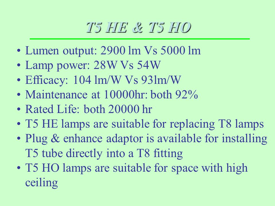 T5 HE & T5 HO Lumen output: 2900 lm Vs 5000 lm Lamp power: 28W Vs 54W Efficacy: 104 lm/W Vs 93lm/W Maintenance at 10000hr: both 92% Rated Life: both 2