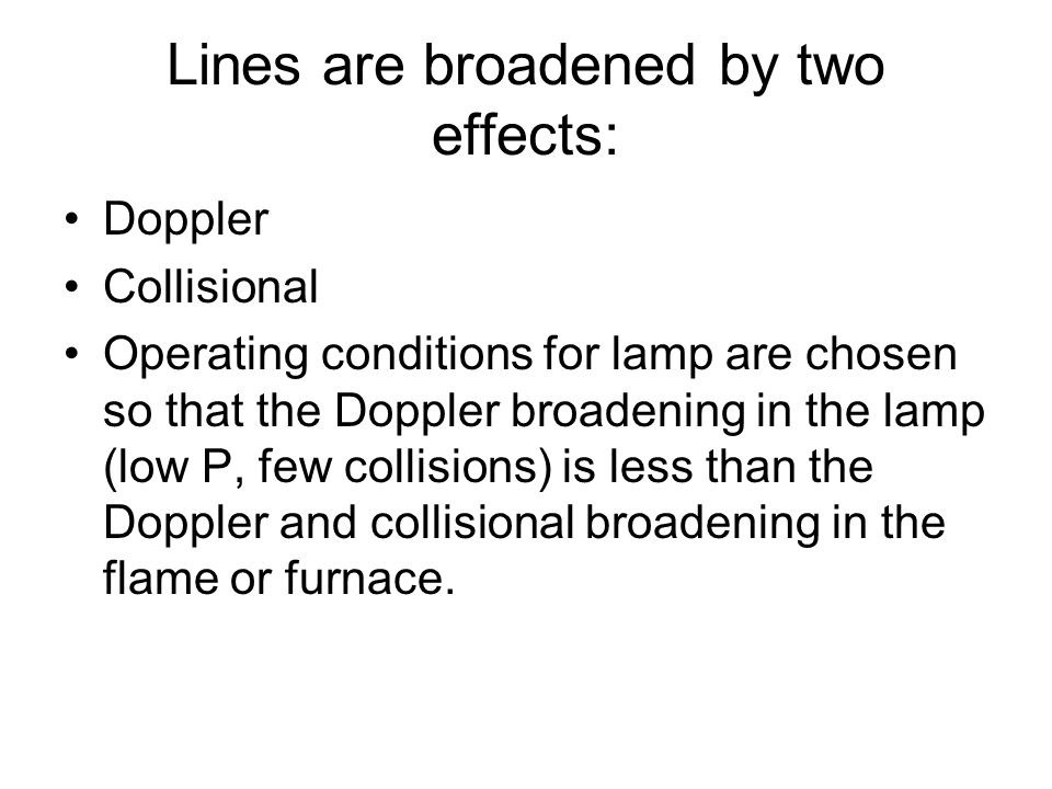Lines are broadened by two effects: Doppler Collisional Operating conditions for lamp are chosen so that the Doppler broadening in the lamp (low P, fe