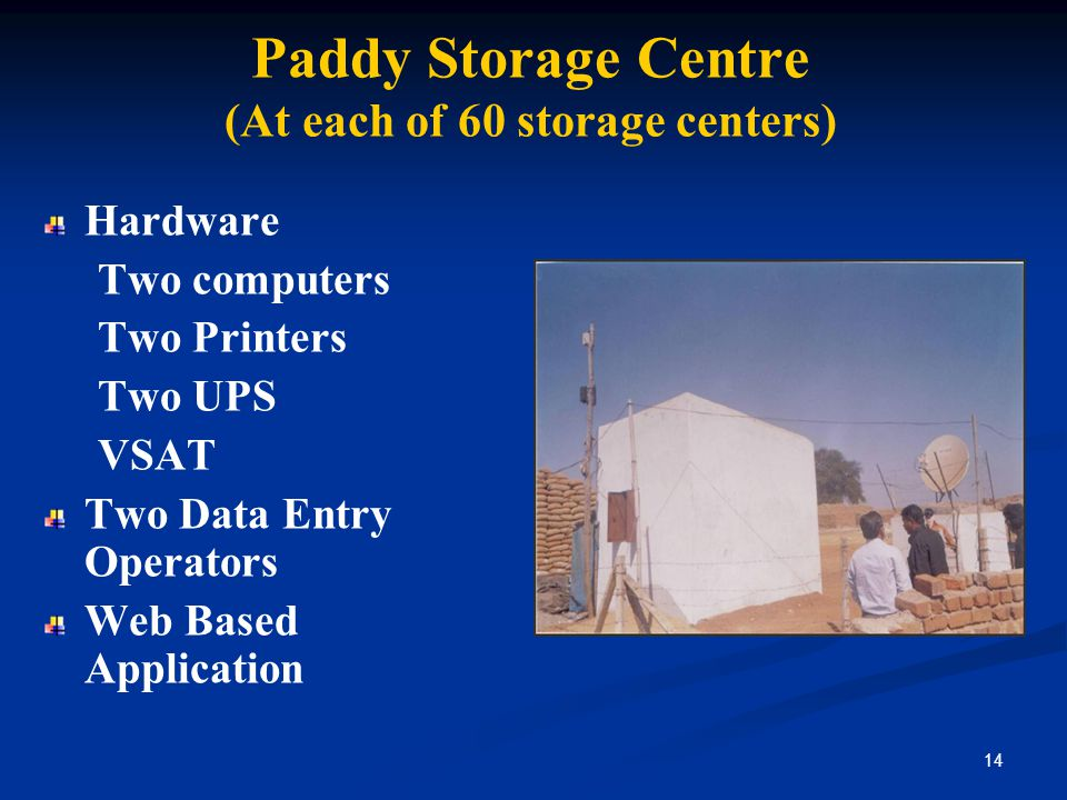 Paddy Storage Centre (At each of 60 storage centers) Hardware Two computers Two Printers Two UPS VSAT Two Data Entry Operators Web Based Application 14