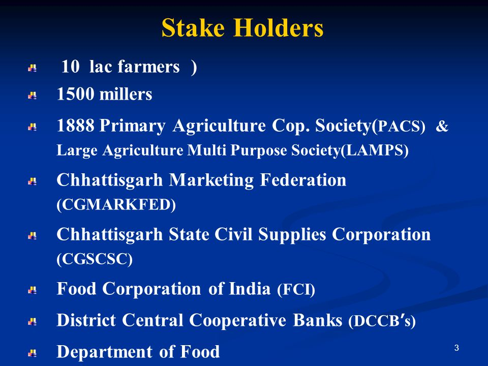 Stake Holders 10 lac farmers ) 1500 millers 1888 Primary Agriculture Cop.