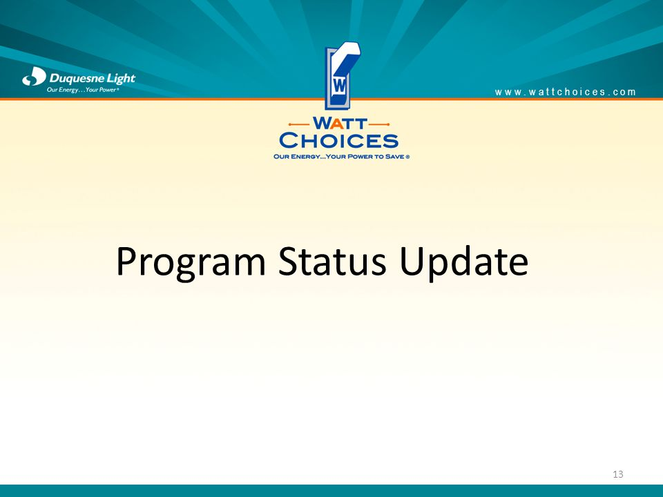 www.wattchoices.com 13 Program Status Update