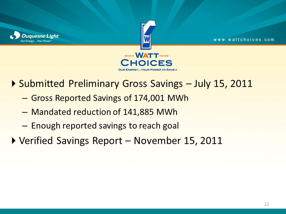 Submitted Preliminary Gross Savings – July 15, 2011 – Gross Reported Savings of 174,001 MWh – Mandated reduction of 141,885 MWh – Enough reported savings to reach goal Verified Savings Report – November 15, 2011 www.wattchoices.com 22