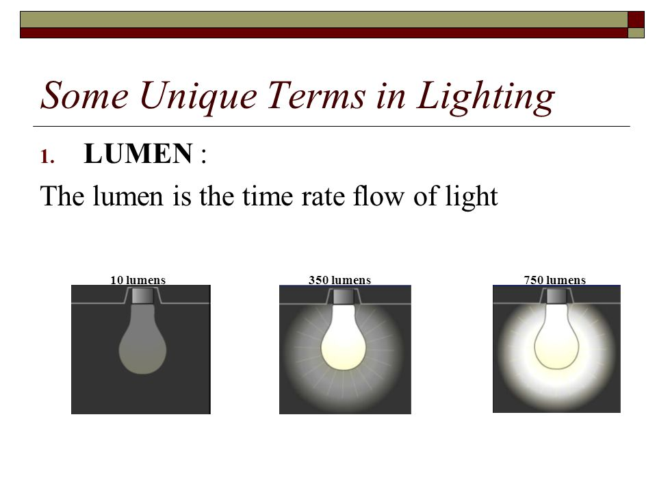 Some Unique Terms in Lighting 1.