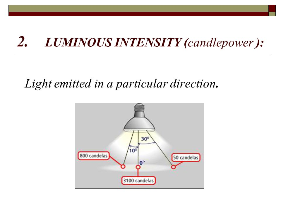2. LUMINOUS INTENSITY (candlepower ): Light emitted in a particular direction.