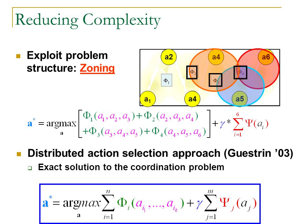 a6 a5 a4 a2 a1a1 Reducing Complexity Exploit problem structure: Zoning Distributed action selection approach (Guestrin 03) Exact solution to the coordination problem