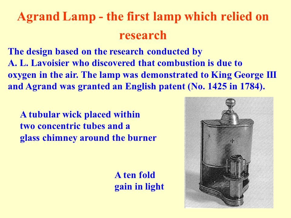 Agrand Lamp - the first lamp which relied on research The design based on the research conducted by A. L. Lavoisier who discovered that combustion is