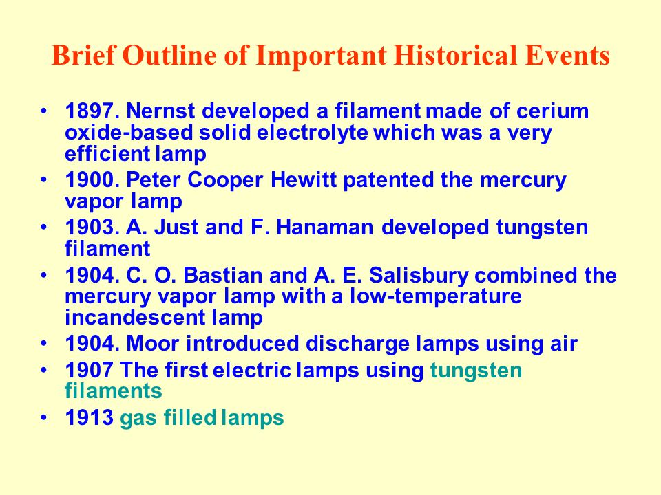 Brief Outline of Important Historical Events 1897. Nernst developed a filament made of cerium oxide-based solid electrolyte which was a very efficient