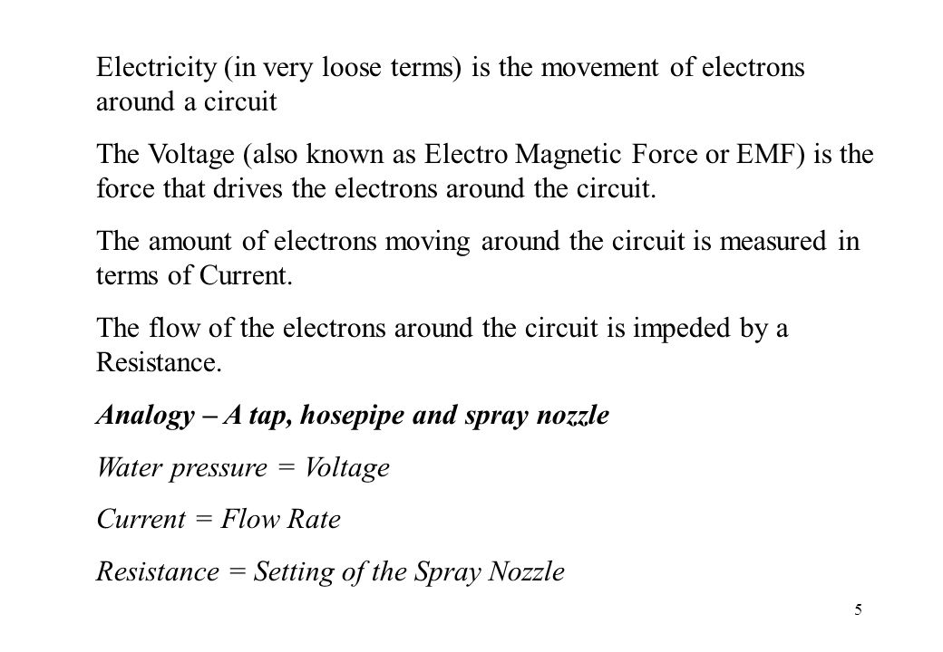 6 The relationship in a circuit between Voltage, Current and Resistance is governed by Ohms law.