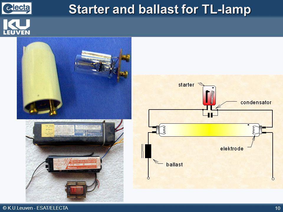 © K.U.Leuven - ESAT/ELECTA 10 Starter and ballast for TL-lamp