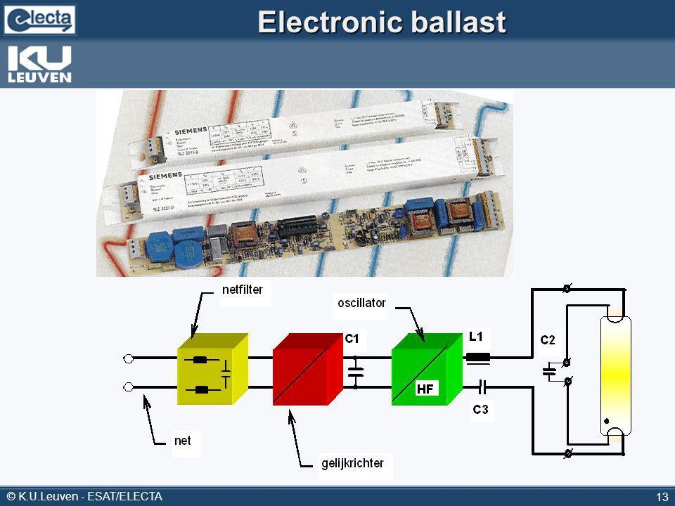 © K.U.Leuven - ESAT/ELECTA 13 Electronic ballast