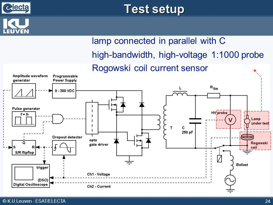© K.U.Leuven - ESAT/ELECTA 24 Test setup lamp connected in parallel with C high-bandwidth, high-voltage 1:1000 probe Rogowski coil current sensor