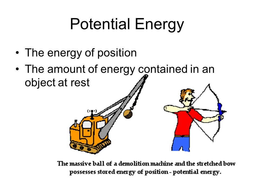 Determining Potential Energy By its position and its weight (mass X gravity) PE = (mass)(gravity)(height) = mgh where m is mass in kg g is the force of gravity = 9.8 m/s 2 h is the height The SI unit that represents potential energy is the Joule (J) (kg m 2 /s 2 ).