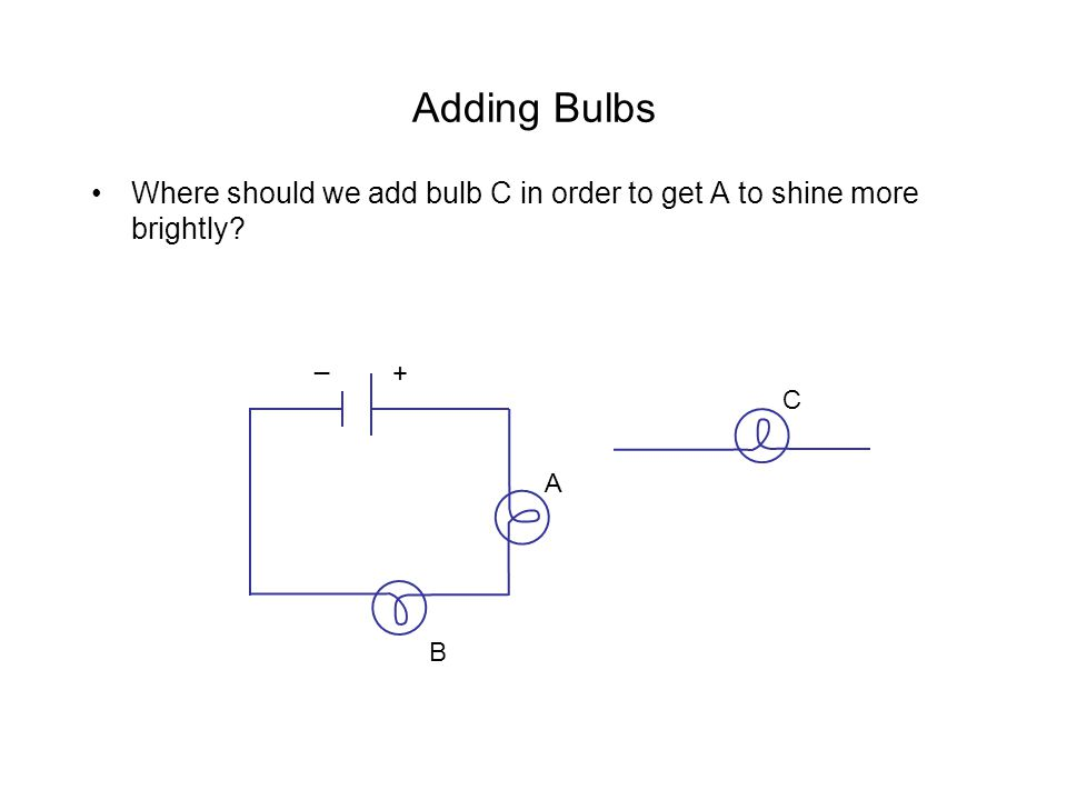 Adding Bulbs Where should we add bulb C in order to get A to shine more brightly? C A B + _