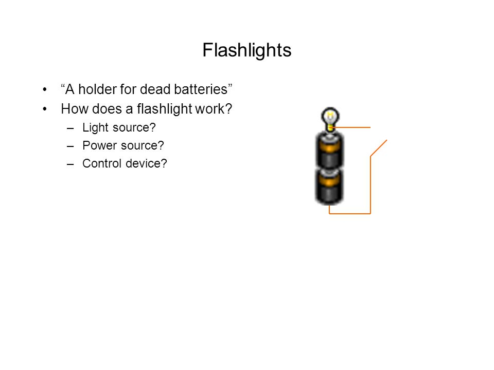 Flashlights A holder for dead batteries How does a flashlight work.