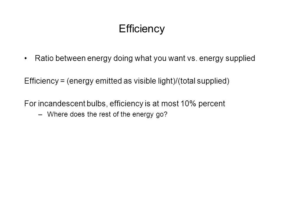 Efficiency Ratio between energy doing what you want vs.