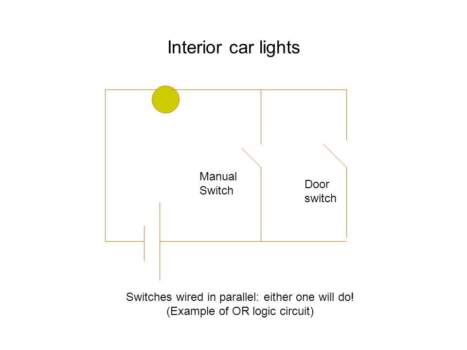 Interior car lights Door switch Manual Switch Switches wired in parallel: either one will do.