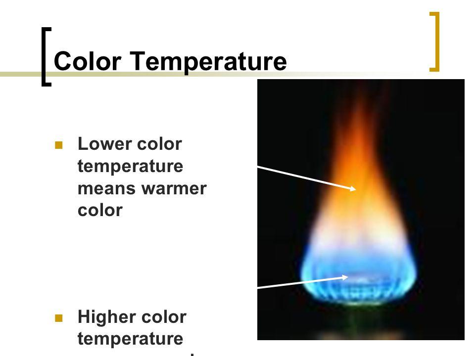 Color Temperature Lower color temperature means warmer color Higher color temperature means a cooler color