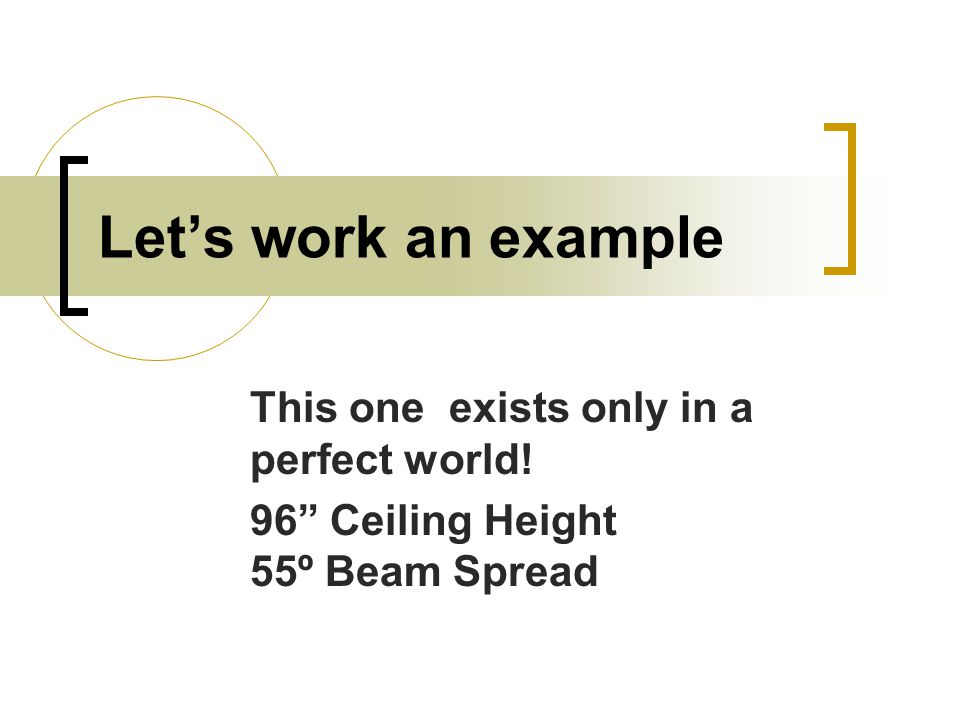 This one exists only in a perfect world! 96 Ceiling Height 55º Beam Spread