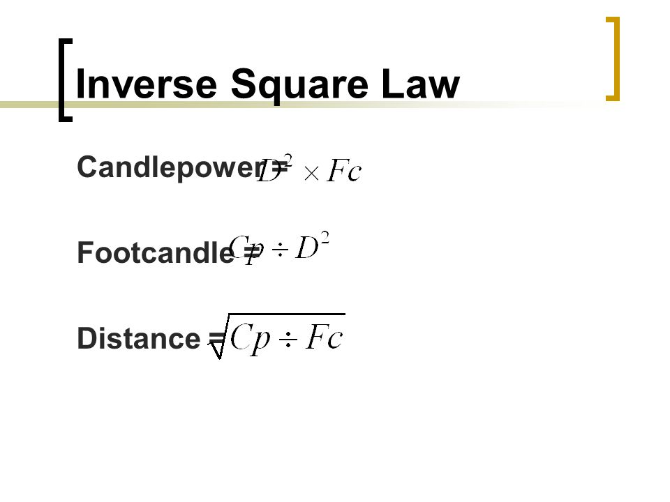 Inverse Square Law Candlepower = Footcandle = Distance =