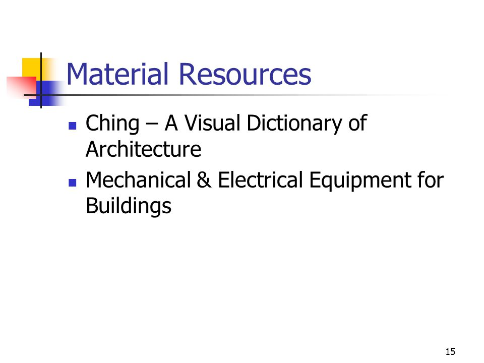15 Material Resources Ching – A Visual Dictionary of Architecture Mechanical & Electrical Equipment for Buildings