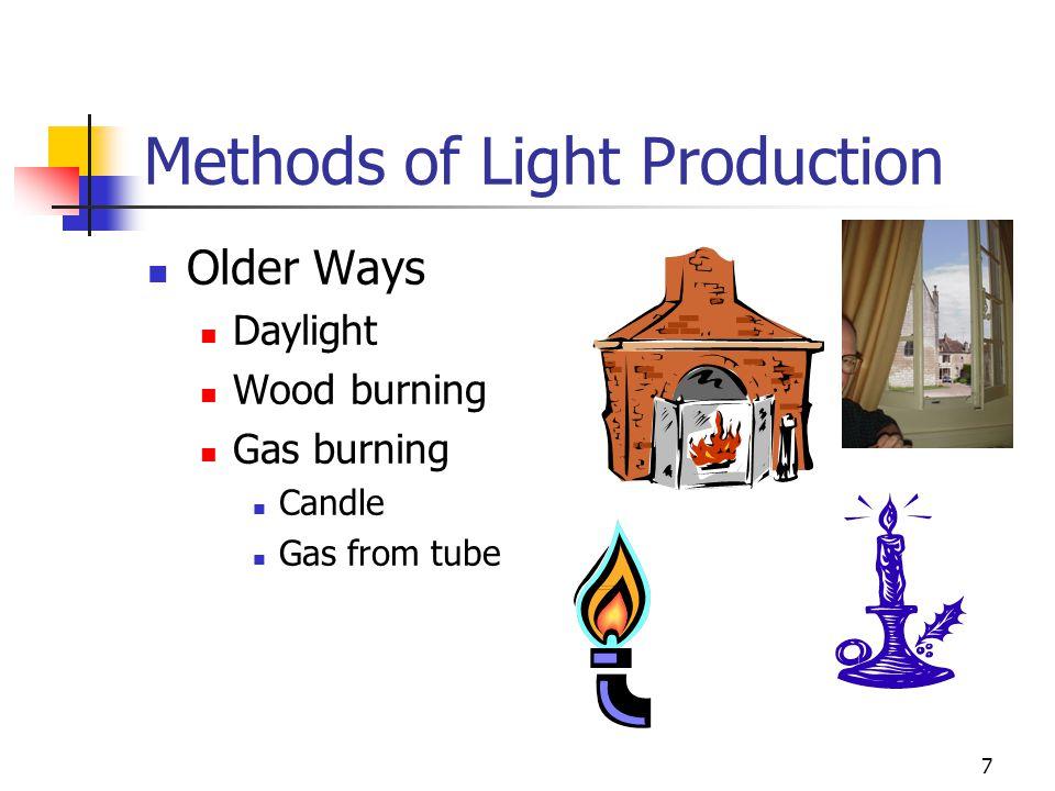 7 Methods of Light Production Older Ways Daylight Wood burning Gas burning Candle Gas from tube