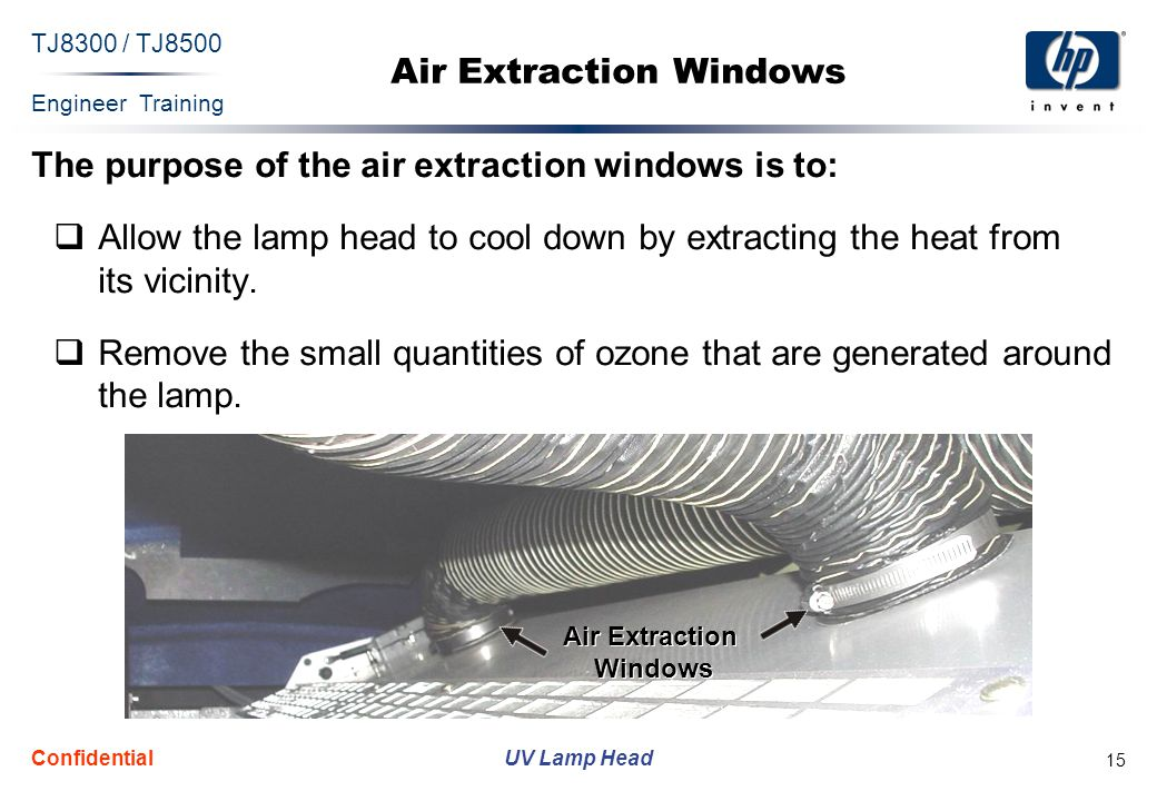 Engineer Training UV Lamp Head TJ8300 / TJ8500 Confidential 15 Air Extraction Windows The purpose of the air extraction windows is to: Allow the lamp head to cool down by extracting the heat from its vicinity.