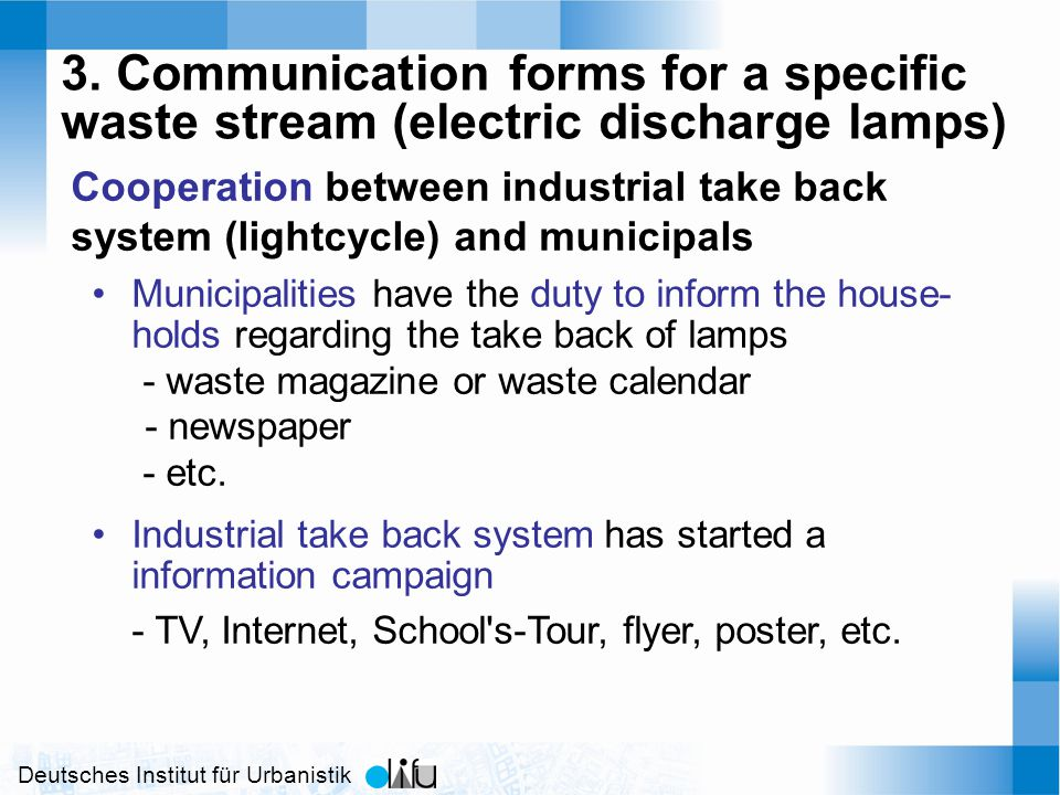 Deutsches Institut für Urbanistik 3. Communication forms for a specific waste stream (electric discharge lamps) Cooperation between industrial take ba