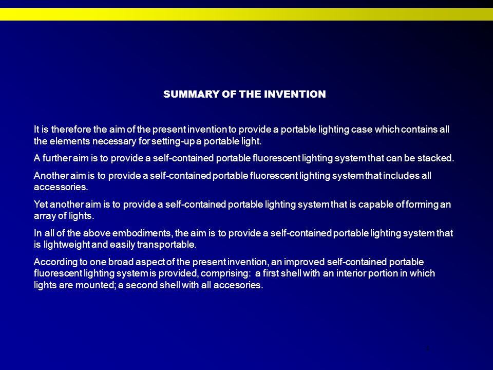4 SUMMARY OF THE INVENTION It is therefore the aim of the present invention to provide a portable lighting case which contains all the elements necessary for setting-up a portable light.