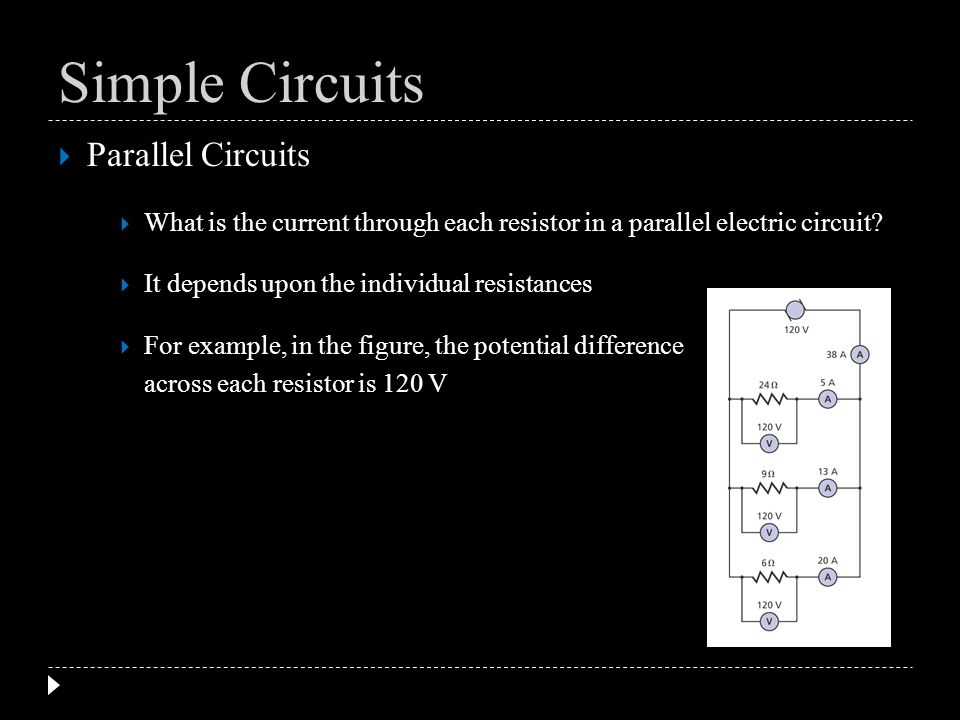 Parallel Circuits What is the current through each resistor in a parallel electric circuit? It depends upon the individual resistances For example, in