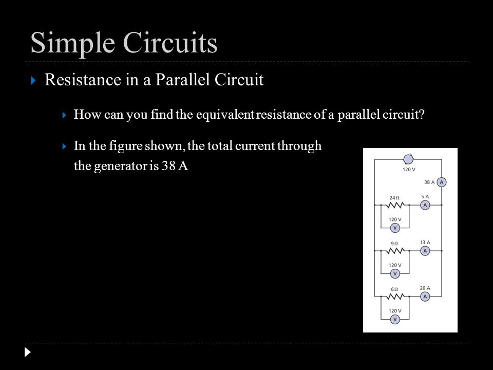 Resistance in a Parallel Circuit How can you find the equivalent resistance of a parallel circuit? In the figure shown, the total current through the