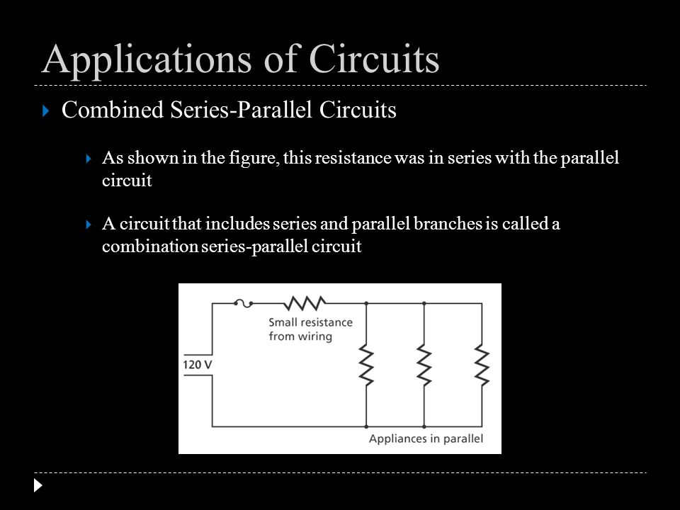 Combined Series-Parallel Circuits As shown in the figure, this resistance was in series with the parallel circuit A circuit that includes series and p