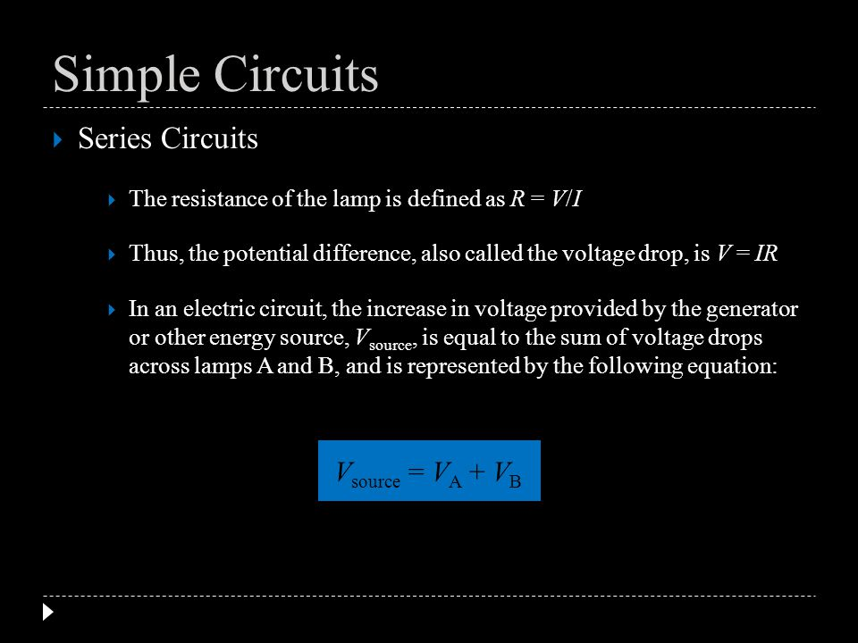 Series Circuits The resistance of the lamp is defined as R = V/I Thus, the potential difference, also called the voltage drop, is V = IR In an electri