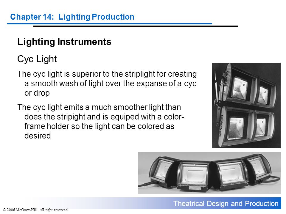 Theatrical Design and Production Chapter 14: Lighting Production © 2006 McGraw-Hill. All right reserved. Lighting Instruments Cyc Light The cyc light