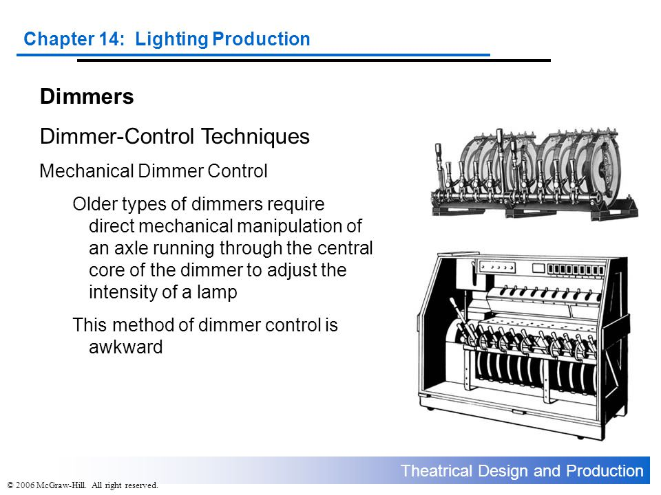 Theatrical Design and Production Chapter 14: Lighting Production © 2006 McGraw-Hill. All right reserved. Dimmers Dimmer-Control Techniques Mechanical