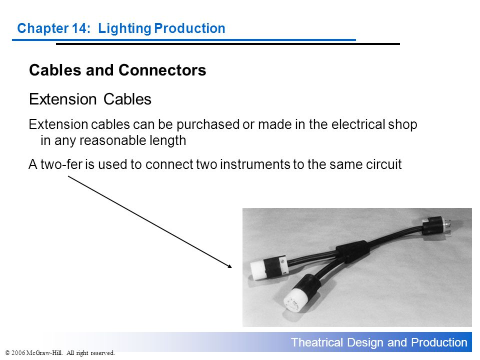 Theatrical Design and Production Chapter 14: Lighting Production © 2006 McGraw-Hill. All right reserved. Cables and Connectors Extension Cables Extens