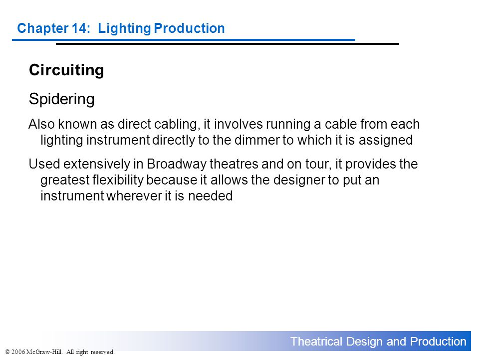 Theatrical Design and Production Chapter 14: Lighting Production © 2006 McGraw-Hill. All right reserved. Circuiting Spidering Also known as direct cab