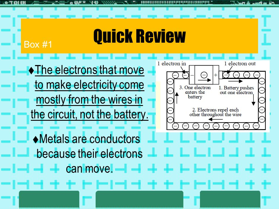 Quick Review The electrons that move to make electricity come mostly from the wires in the circuit, not the battery. Metals are conductors because the