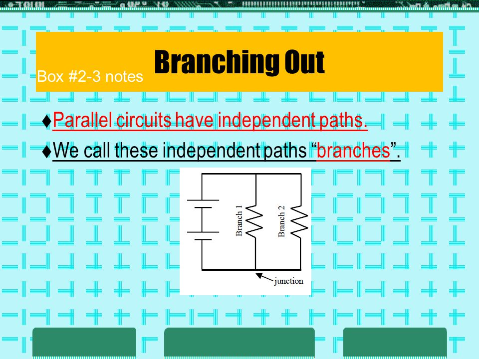 Branching Out Parallel circuits have independent paths. We call these independent paths branches. Box #2-3 notes