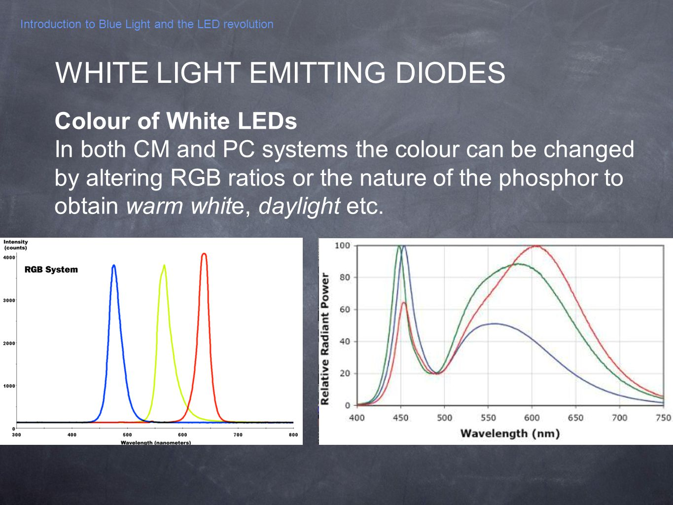 Introduction to Blue Light and the LED revolution Colour of White LEDs In both CM and PC systems the colour can be changed by altering RGB ratios or t