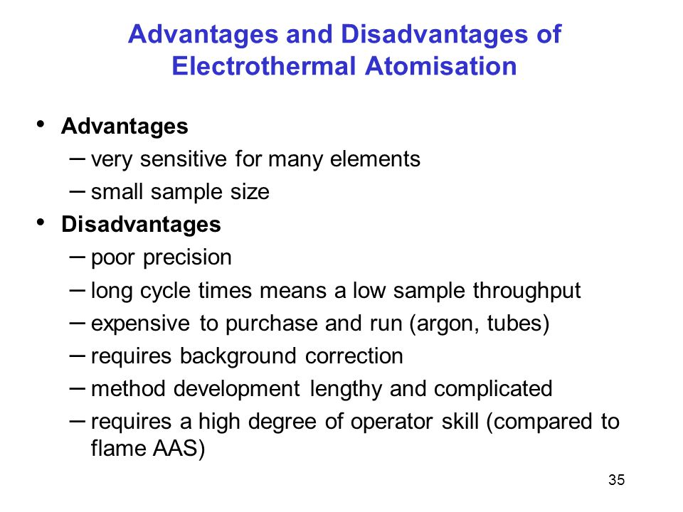 35 Advantages and Disadvantages of Electrothermal Atomisation Advantages – very sensitive for many elements – small sample size Disadvantages – poor precision – long cycle times means a low sample throughput – expensive to purchase and run (argon, tubes) – requires background correction – method development lengthy and complicated – requires a high degree of operator skill (compared to flame AAS)