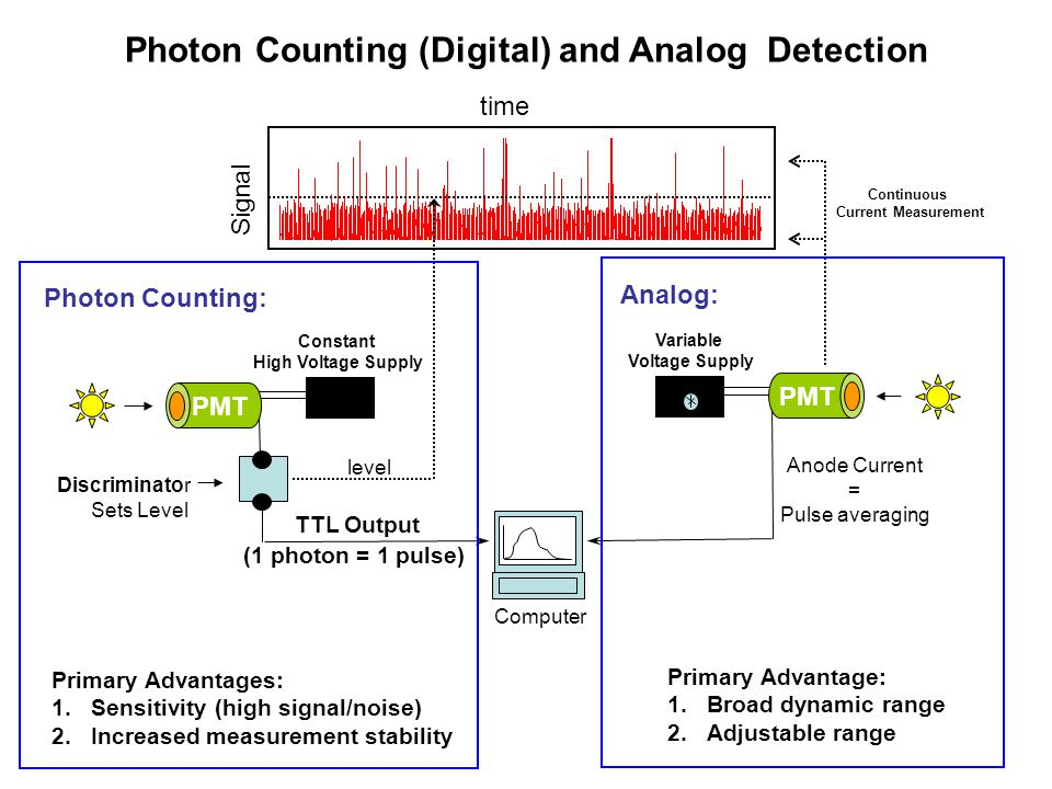 Photon Counting (Digital) and Analog Detection Primary Advantages: 1.Sensitivity (high signal/noise) 2.Increased measurement stability Primary Advanta