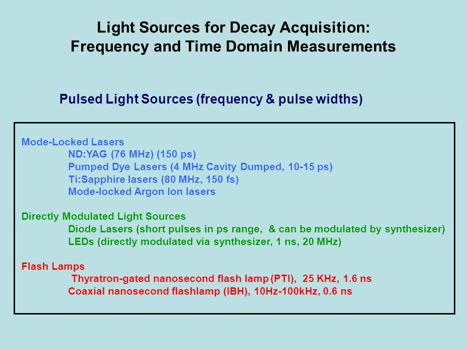 Light Sources for Decay Acquisition: Frequency and Time Domain Measurements Pulsed Light Sources (frequency & pulse widths) Mode-Locked Lasers ND:YAG