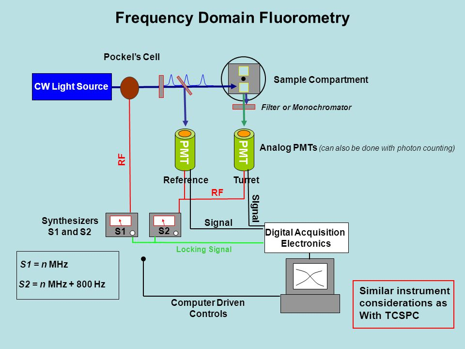 Frequency Domain Fluorometry CW Light Source Sample Compartment Filter or Monochromator PMT Analog PMTs (can also be done with photon counting) PMT S1