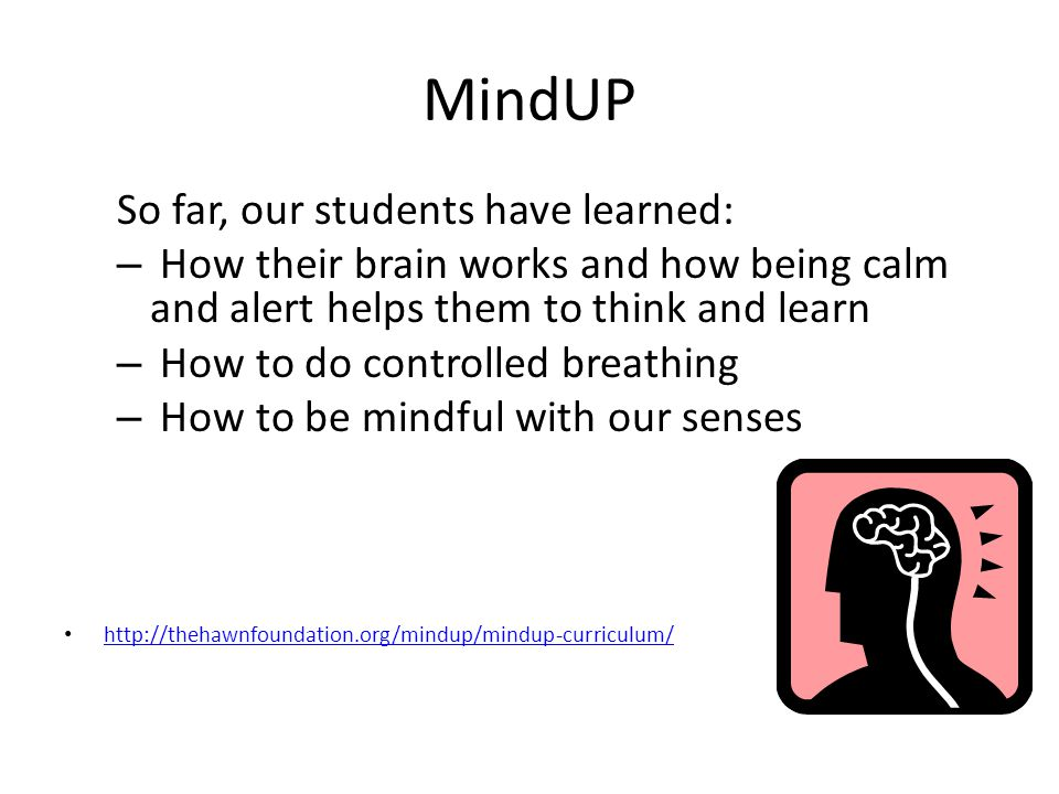 MindUP So far, our students have learned: – How their brain works and how being calm and alert helps them to think and learn – How to do controlled br