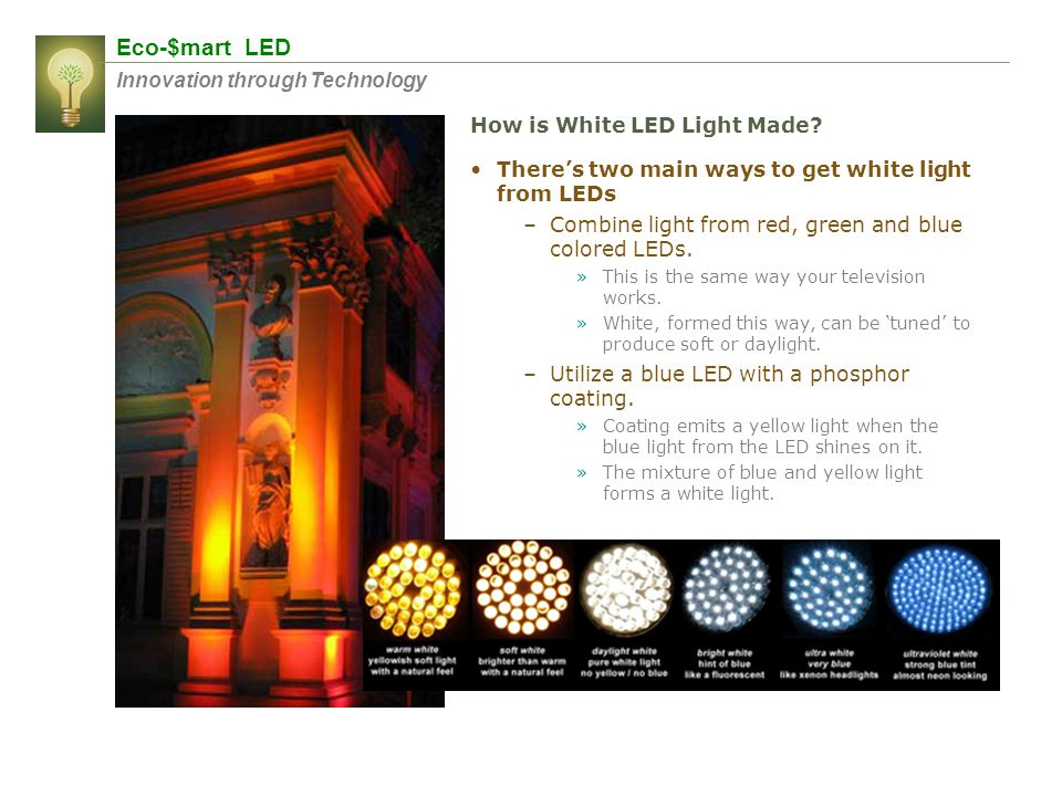 Eco-$mart LED Innovation through Technology Theres two main ways to get white light from LEDs –Combine light from red, green and blue colored LEDs. »T