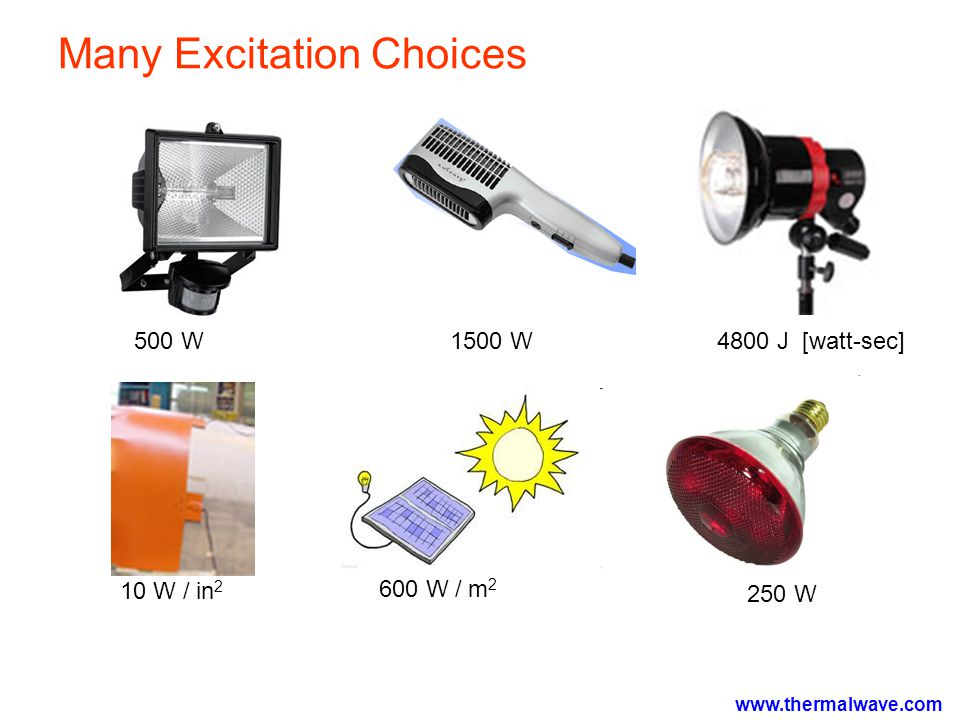 Many Excitation Choices 500 W1500 W4800 J [watt-sec] 250 W 600 W / m 2 10 W / in 2