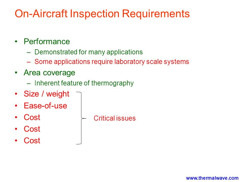 www.thermalwave.com On-Aircraft Inspection Requirements Performance –Demonstrated for many applications –Some applications require laboratory scale systems Area coverage –Inherent feature of thermography Size / weight Ease-of-use Cost Critical issues